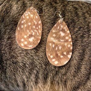 Patterned wood earrings